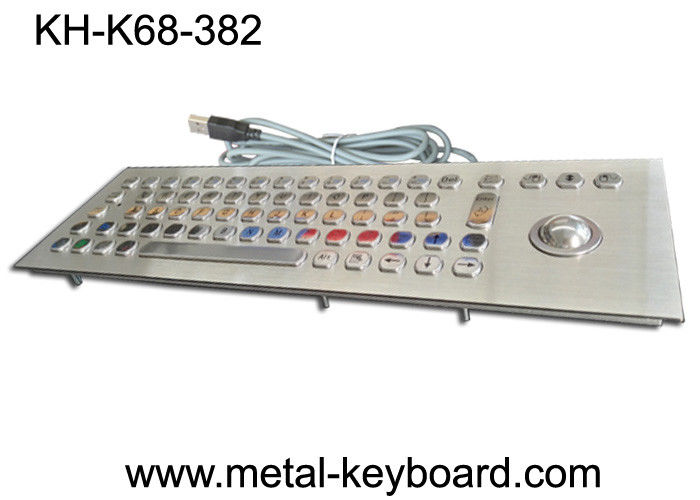 Water resistant stainless steel keyboard with trackball mouse for Kiosk