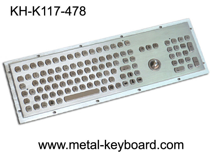 Dustproof metal panel mount keyboard with trackball and number keypad