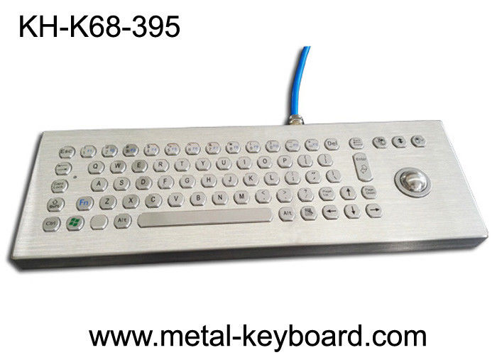 Desktop Industrial Computer Keyboard Stainless Steel Water Proof With Laser Trackball
